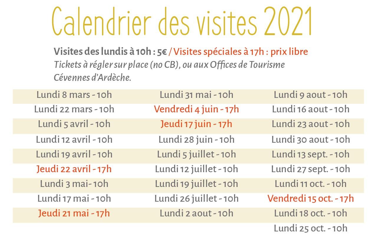 calendrier visites 2020